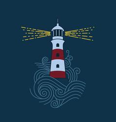 lighthouse among waves vector image