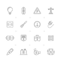 line electricity power and energy icons vector image