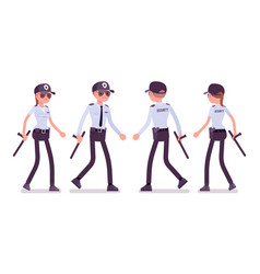 Male and female security guard walking vector