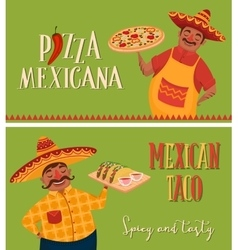 Mexican food Chefs with pizza and tacos Banners vector