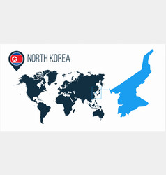 North korea map located on a world map with flag vector