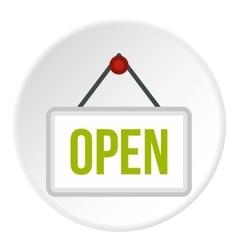 Open door sign icon flat style vector