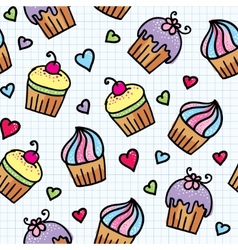 Pattern with cupcakes vector