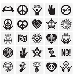 Peace icons set on squares background for graphic vector