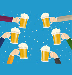 people clinking beer glasses vector image