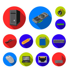 personal computer flat icons in set collection for vector image