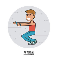 Physical education - boy exercise squats sport vector
