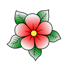 Pink cherry flower with green leaves old school vector