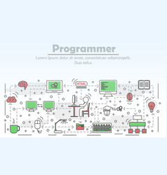 programmer advertising flat line art vector image