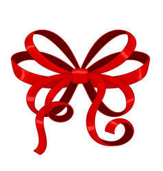 red ribbon bow with curly edges vector image