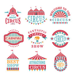 Retro badges or logotypes of carnival and circus vector