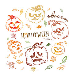 set halloween pumpkin withleaves vector image