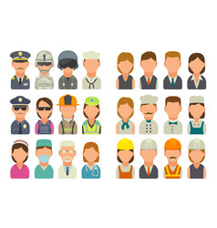 Set icon character cook builder business vector