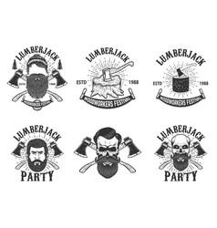 set lumberjack festival emblems lumberjack vector image