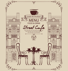 sidewalk cafe menu with a table in the old town vector image