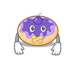 Silent donut blueberry mascot cartoon vector