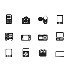 Silhouette media and electronics icons vector image