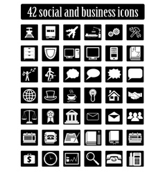 Social and business icons set vector