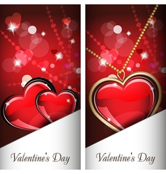 St Valentines Day Two cards with glass red and vector image