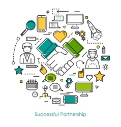 Successful Partnership Line Concept vector image