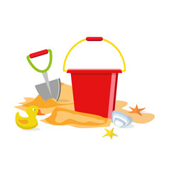 summer time flat design beach toys isolated pail vector image