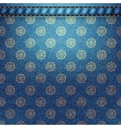 Texture of denim fabric with flowers vector