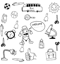 Tools school funny in doodle vector