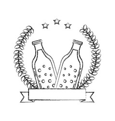 two beer bottle drink emblem vector image