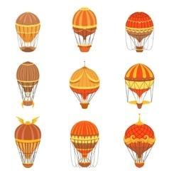 Vintage Hot Air Balloons Set vector image