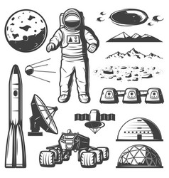 Vintage mars space elements collection vector