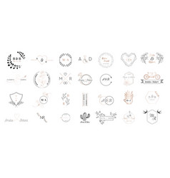Wedding monogram logos collection save the date vector