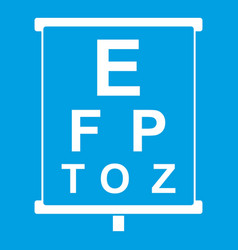 White placard with letters eyesight testing icon vector