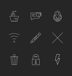 Wifi dustbin pencil lock interface icons vector