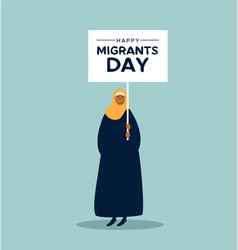 Woman in hijab at migrants day rights day march vector