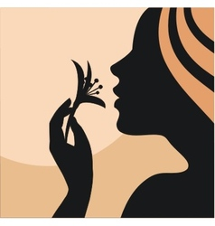 Woman with flower in hand vector