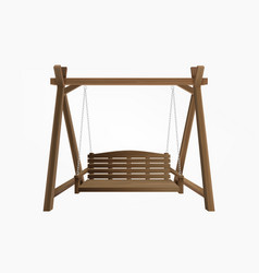 Wooden porch swing bench hanging on frame vector