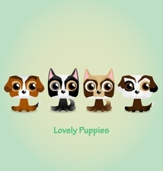 Cute funny lovely puppies vector image