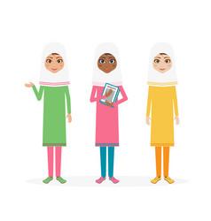 schoolgirl character cartoon flat vector image