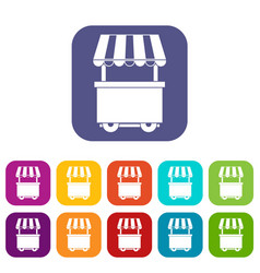 Food trolley with awning icons set flat vector