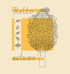hello autumn tree sketch vector image vector image