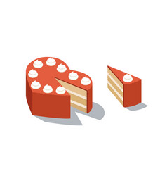 isometric of red cake heart shape vector image