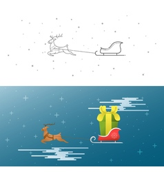 New Year Christmas Xmas The deer and sleigh fly vector image