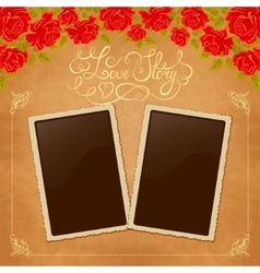 Page of photo album Vintage background with old vector image