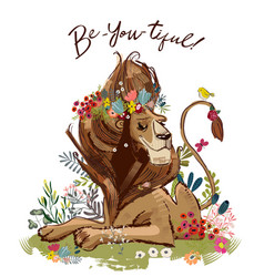 cute cartoon lion king vector image vector image