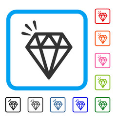 diamond crystal framed icon vector image vector image