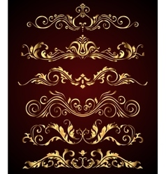 Golden vintage elements and borders set for ornate vector image vector image