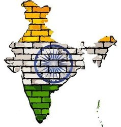 India map on a brick wall vector image vector image