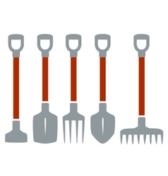 Isolated tools for gardening work vector