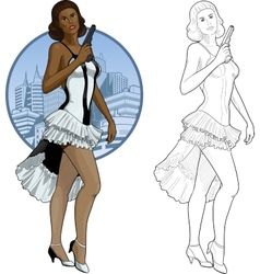 Retro brunette girl mixed race in white and black vector image vector image