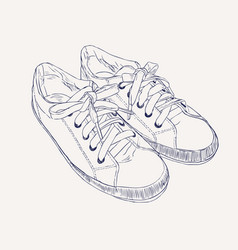 sneakers hand drawn sketch style vector image